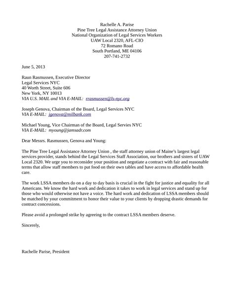pine tree legal assistance attorney union letter of