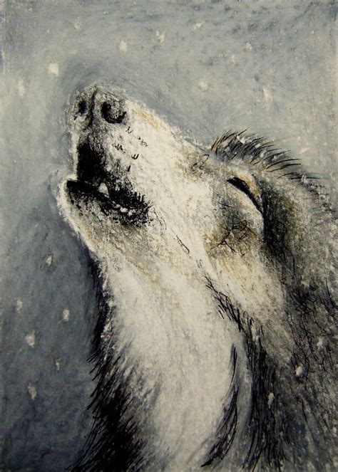 wolf cry miniature drawing  lynn hughes