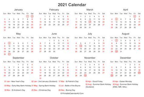calendar  uk bank holidays  bottom landscape layout