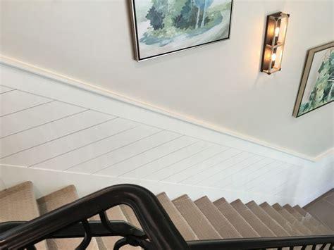 shiplap  stairwell interior railing wainscoting