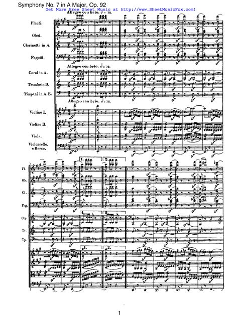 free sheet music for symphony no 7 op 92 beethoven
