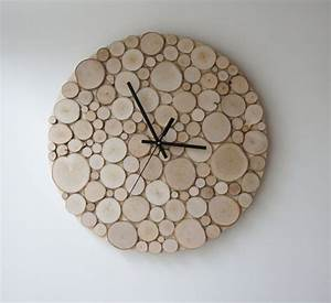 natural white birch forest wood clock large 14 heat With what kind of paint to use on kitchen cabinets for handmade wall clock art