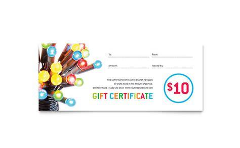 christmas lights gift certificate template design