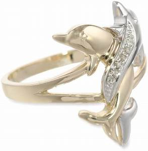 10k two tone gold diamond accent intertwined dolphin ring With dolphin wedding rings