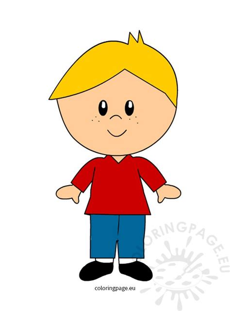 blond hair boy clipart coloring page