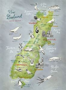 Large Print New Zealand Map Of South Island Large Nz Print