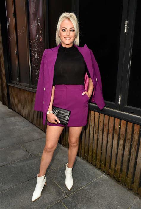 katie mcglynn   purple suit     manchester celeb donut