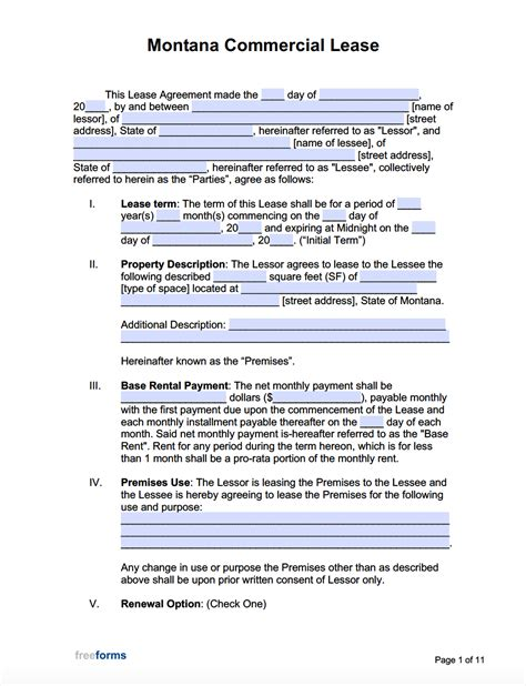 montana commercial lease agreement template  word