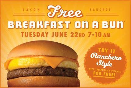 32433 Whataburger Printable Coupons by Free Whataburger Breakfast On A Bun Tomorrow June 22