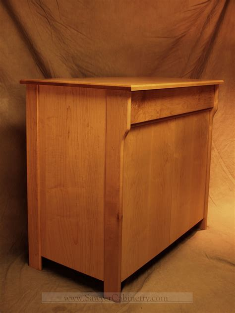 hand  mid century modern retro stereo cabinet  maple