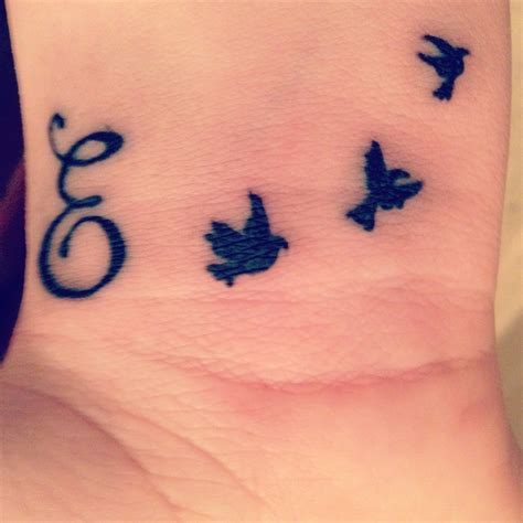 letter   birds tattoo  wrist initial wrist tattoos tattoo lettering bird tattoo wrist