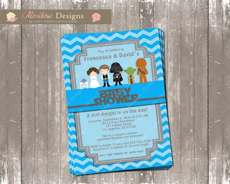 Wars Baby Shower - blue chevron wars baby shower invitation digital file