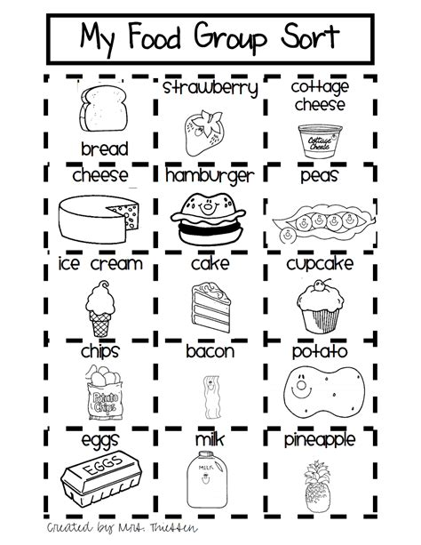 my grade food sort pdf kindergarten