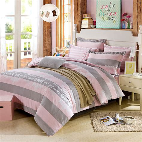beautiful dull grey and pink cotton bedding set ebeddingsets