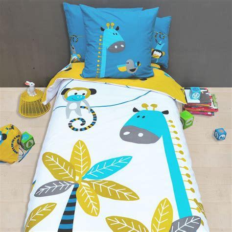 housse de couette girafe linge de lit pour enfant housse de couette et taie d oreiller avec des motifs d animaux de la