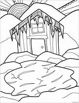 Coloring Cabin Winter Hurry Log Printable Nature Getdrawings Coloringpagesonly sketch template