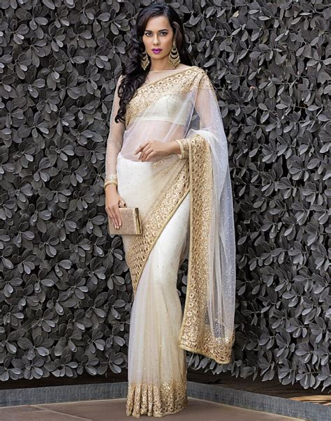 buy online floral handcrafted and embellished net saree by meena bazaarat best price 538378