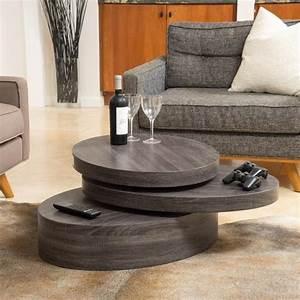 lenox oval mod rotating wood coffee table gdf studio With rotating wood coffee table