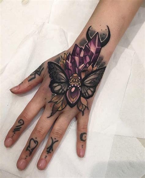 moth crystals girls hand tattoo  tattoo design ideas
