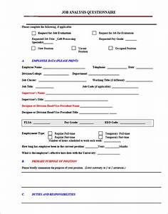 9 job analysis templates With position description questionnaire template