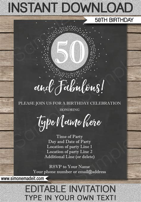 chalkboard  birthday invitation template silver glitter