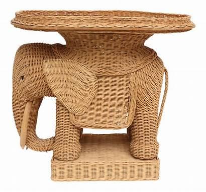 Elephant Wicker Table Side Rattan Chairish