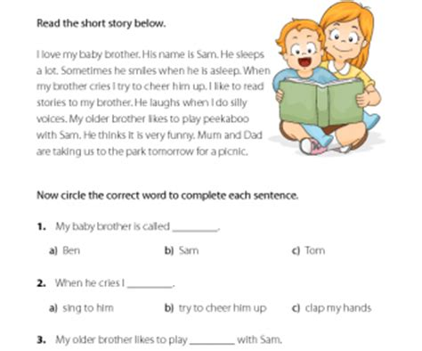 esl reading comprehension  baby brother
