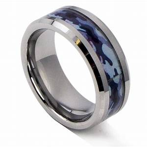 8mm tungsten ring flat top black blue camo hunting for Camo mens wedding rings
