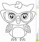 Owl Coloring Eyeglasses Pages Owls Printable Cartoon Sheets Drawing Useful Dreamstime Books Patterns sketch template