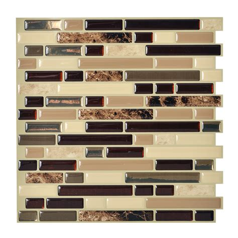 shop smart tiles 6 pack brown linear mosaic composite vinyl wall tile common 10 in x 10 in