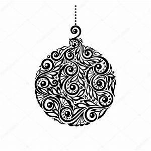Noel Noir Et Blanc : boule de no l noir et blanc avec un dessin floral image vectorielle jane hulinska 33925657 ~ Melissatoandfro.com Idées de Décoration
