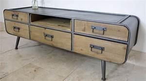 Meuble Tv Metal : meuble tv r tro de style industriel bois et m tal avec 5 tiroirs ~ Teatrodelosmanantiales.com Idées de Décoration