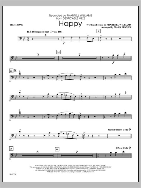Notes sheet music for beginners in bass clef for trombone cello bassoon euphonium and tube. Happy - Trombone   Sheet Music Direct