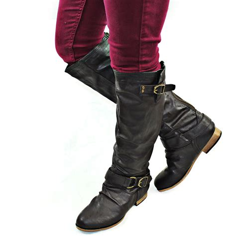 casual motorcycle riding boots brown women casual motorcycle riding fashion boots back