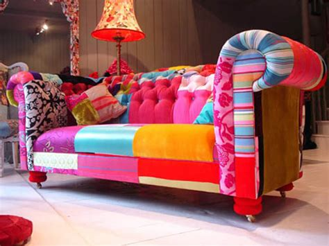 colorful furniture modern interior design trends inspired by patchwork fabric