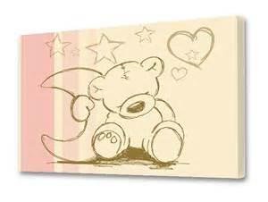 leinwandbilder kinderzimmer quot knuddel teddy quot beige rosa leinwandbild stikkipix