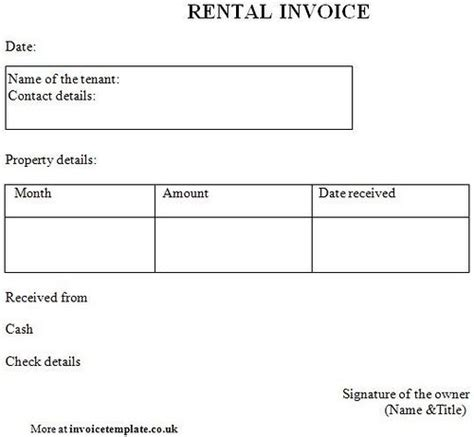 rent invoice template paper templates printable invoices