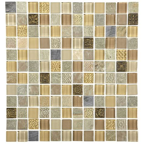quartz  beige stoneglassmetal mix mosaic tile sheet