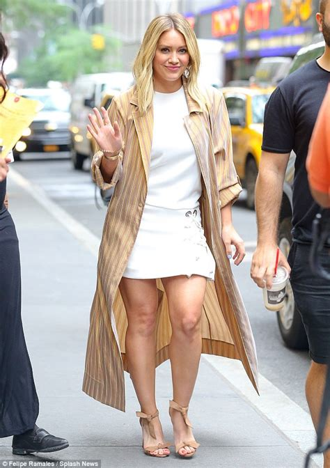 hilary duff  leggy  designer heels   revealed
