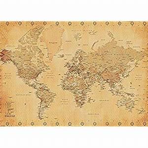 Alte Weltkarte Poster : weltkarte xxl poster world map vintage style poster riesenformat ~ Markanthonyermac.com Haus und Dekorationen