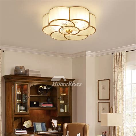 flush mount ceiling light glass  light brass bathroom