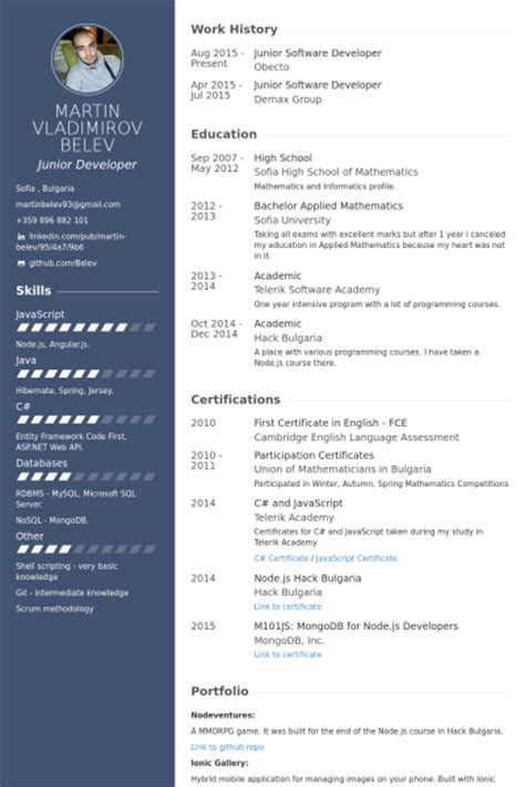 Software Developer Resume Exles by Software Developer Resume Sles Visualcv Resume Sles Database