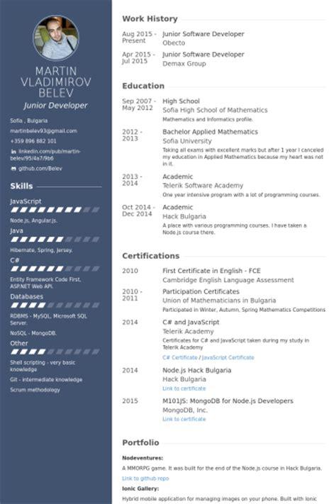 junior software developer resume task list templates