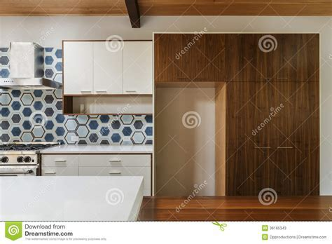 Kitchen And Dining Table In Modern Home Stock Image