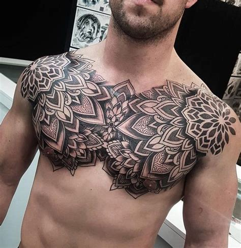 nice chest tattoo ideas mandala tattoos cool chest