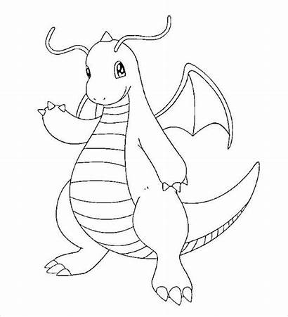 Pokemon Coloring Pages Dragon Type Powerful Dragonite