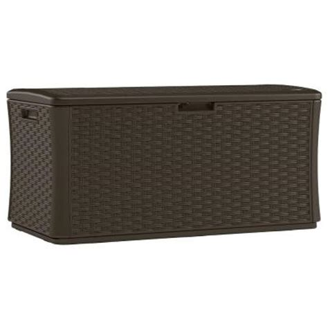 suncast bmdb134004 134 gal resin wicker deck box from for 119 00