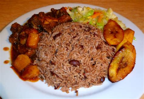 aya cuisine brown chicken stew with rice beans steamed cabbage