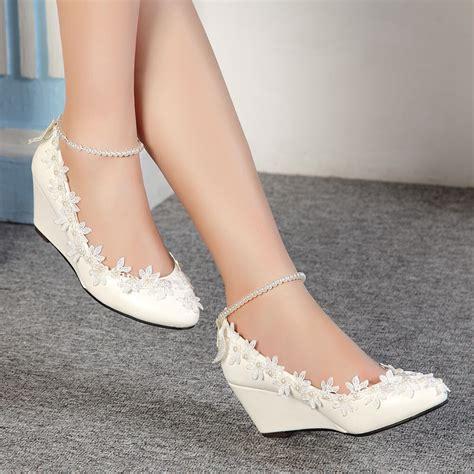lace white ivory crystal wedding shoes bridal flat
