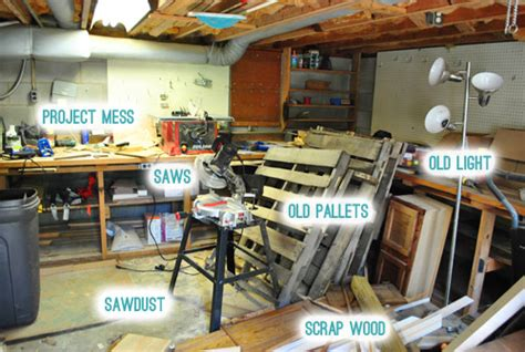 shame revealing  messy basement workshop young